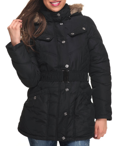 Rocawear - Women Black Large Pockets Hooded Puffer Jacket