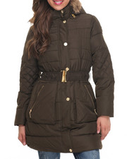 Women - Belted Knee Length Puffer Coat