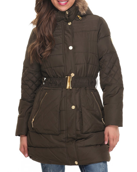 Rocawear - Women Olive Belted Knee Length Puffer Coat
