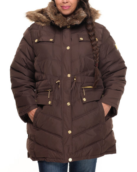 Rocawear Women Cinch Waist Diamond Quilted Puffer Coat (Plus) Brown 1X