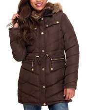 Rocawear - Cinch Waist Diamond Quilted Puffer Coat