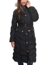 Women - Full Length Belted Hooded Puffer Coat