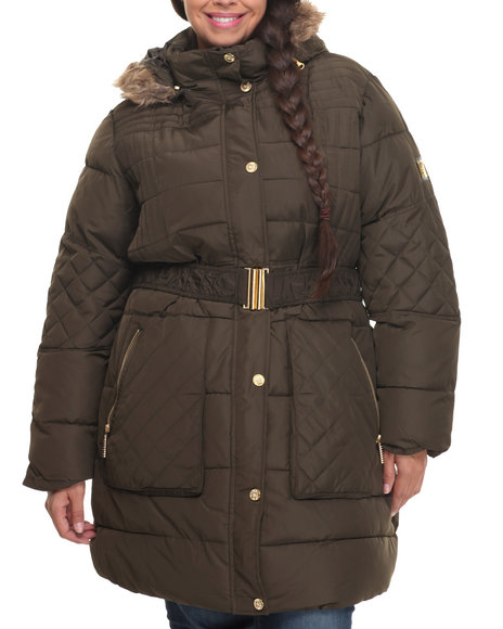 Rocawear - Women Olive Belted Knee Length Puffer Coat (Plus)