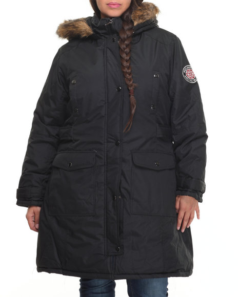 Rocawear - Women Black Goose Puffer Knee Length Hooded Coat (Plus)