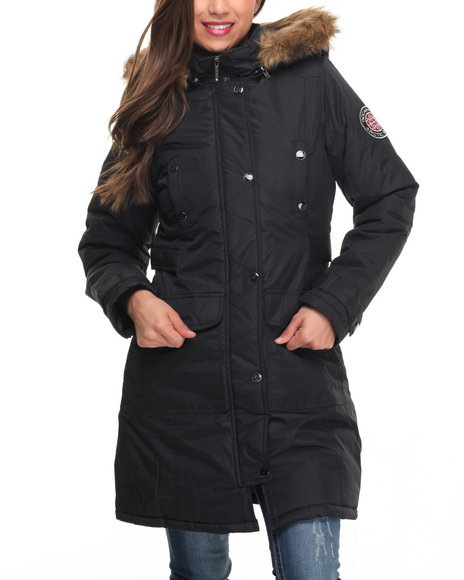 Rocawear Women Goose Puffer Knee Length Hooded Coat Black Medium