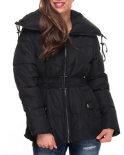 Women - Balloon Collar Belted Puffer Jacket