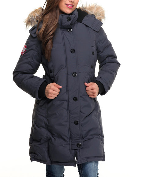 Fashion Lab - Women Charcoal Hooded 2 Way Zipper Parka