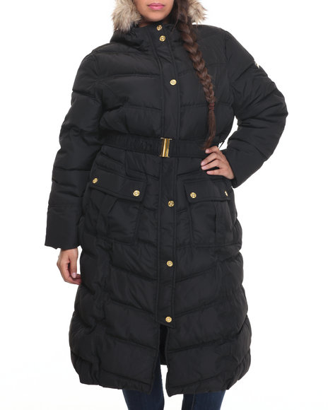 Rocawear - Women Black Full Length Belted Hooded Puffer Coat (Plus)