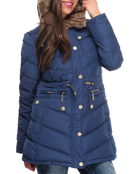 Rocawear Women Cinch Waist Diamond Quilted Puffer Coat Blue Small