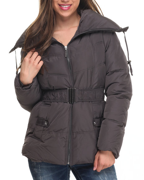 Rocawear - Women Charcoal Balloon Collar Belted Puffer Jacket