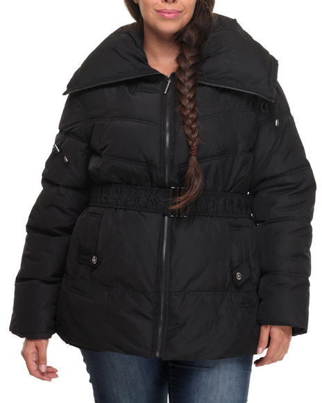 Rocawear - Women Black Balloon Collar Belted Puffer Jacket