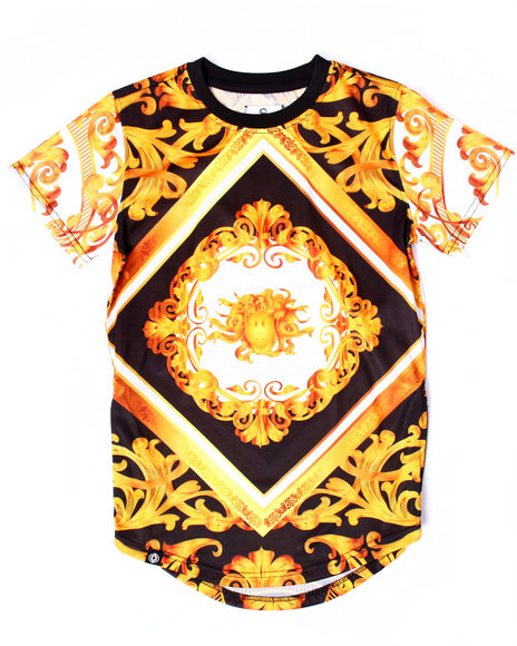 Akademiks - Boys Black Elongated Baroque Tee (8-20)
