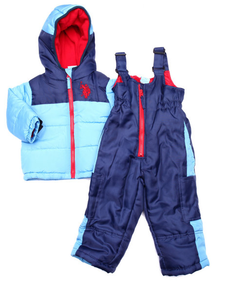 U.S. Polo Assn. - Boys Blue 2 Pc Colorblock Snowsuit (Infant)