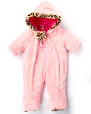 Snowsuits - PLUSH PRAM W/ LEOPARD TRIM (NEWBORN)