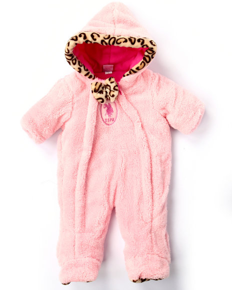 U.S. Polo Assn. - Girls Pink Plush Pram W/ Leopard Trim (Newborn)