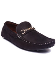 Shoes - Sueded Faux Leather Driving Moccasins W/ Metal Ornament