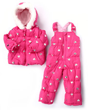 Sets - 2 PC HEART PRINT PUFFER SNOWSUIT (2T-4T)