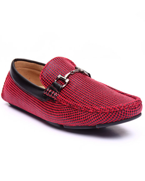 Buyers Picks - Men Red Houndstooth Driving Moccasins W/ Metal Ornament