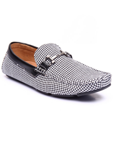Buyers Picks - Men Black Houndstooth Driving Moccasins W/ Metal Ornament