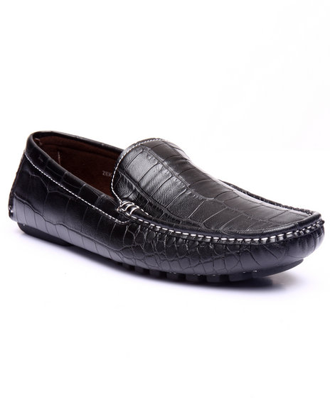 Buyers Picks - Men Black Faux Crocodile Driving Moccasins