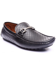 Shoes - Small Checkered Embossed Driving Moccasin W/ Flat Silver Ornament