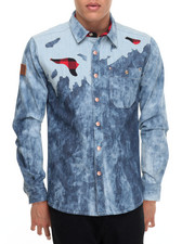 Men - Distressed L/S Denim Button-Down