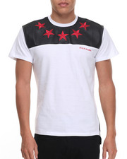 Men - Rich Gang Stars Faux Leather Trimmed S/S Tee