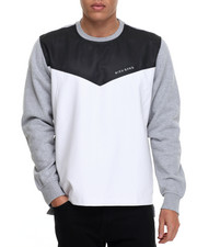 Sweatshirts & Sweaters - Rich Gang Faux Leather Trimmed Crewneck Sweatshirt