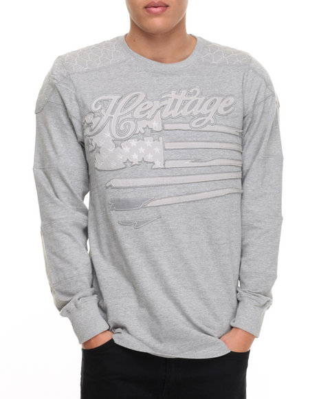 Heritage America - Men Grey Heritage Tonal L/S T-Shirt - $28.99