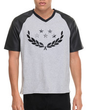 Men - Rich Gang Stars & Laurel Faux Leather Sleeved S/S Tee