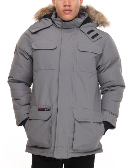 Buyers Picks - Men Grey Heavy Weight Snorkel Parka Hooded Jacket