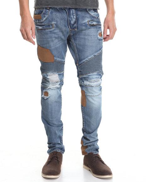 American Natives Men Ducati Leather Neck Moto Denim Jeans Medium Wash 36