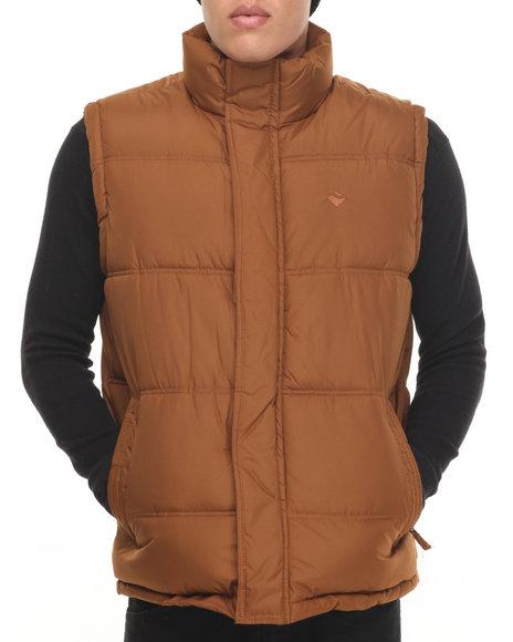 Buyers Picks - Men Brown Teflon Brand Heavy - Fabric Vest W/ Plaid Lining - $75.00