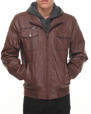 Leather Jackets - P U Jacket w/ Hood