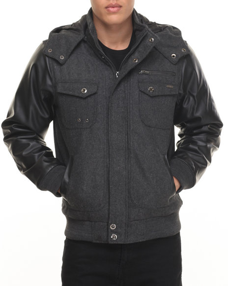 Rocawear - Men Grey Bomber Jacket W/ Detachable Hood