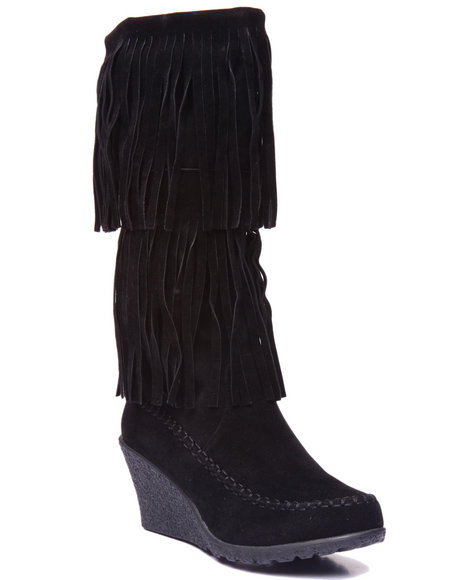 Fashion Lab - Women Black Bernice Double Fringe Wedge Boot