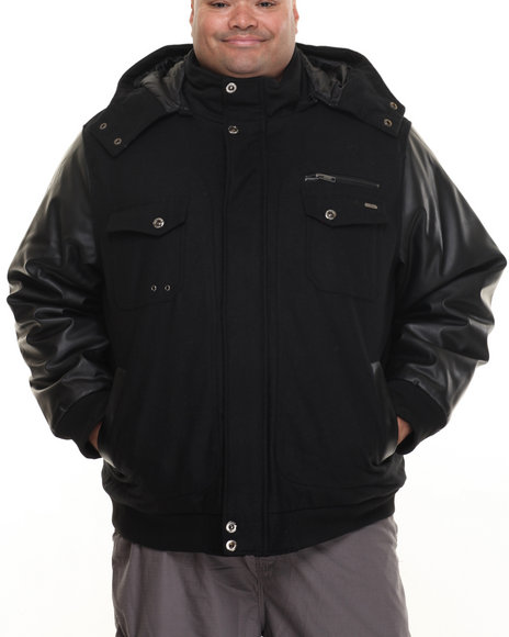 Rocawear - Men Black Bomber Jacket W/ Detachable Hood (B&T)