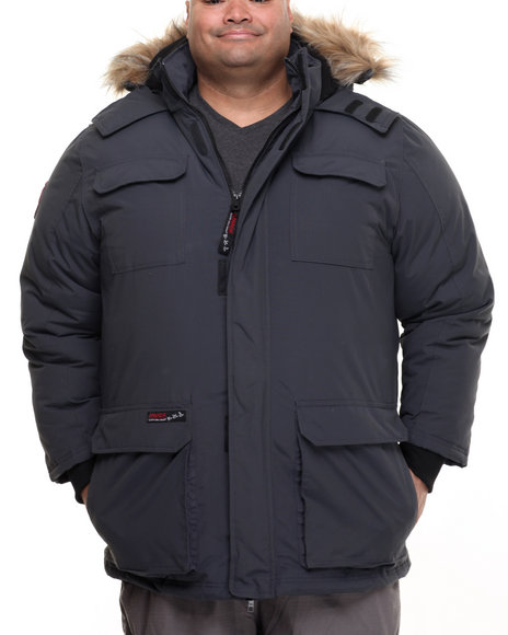 Buyers Picks - Men Charcoal Heavy Weight Snorkel Parka Hooded Jacket (B&T)