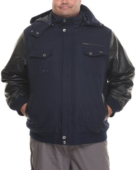 Rocawear - Men Navy Bomber Jacket W/ Detachable Hood (B&T)