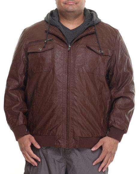 Rocawear Men P U Jacket W Hood (B&T) Brown 5XLarge