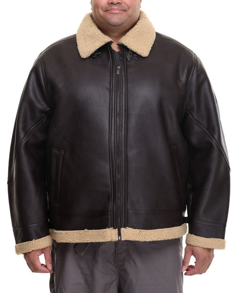 Rocawear - Men Dark Brown P U Shearling Jacket