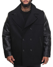 Men - Faux - Leather Sleeved Wool Peacoat (B&T)