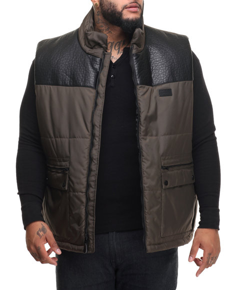 Sean John - Men Olive Faux Leather - Lined Nylon Vest (B&T)