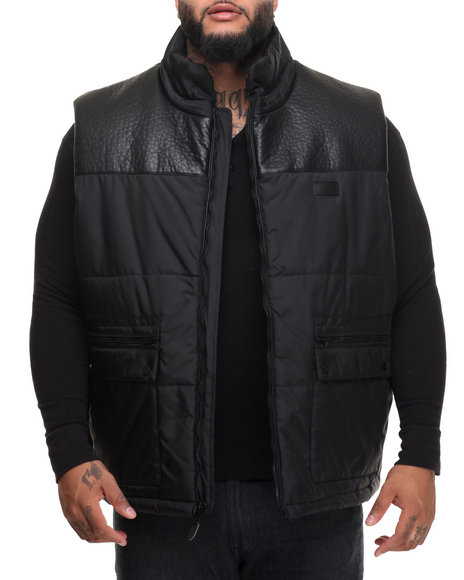 Sean John - Men Black Faux Leather - Lined Nylon Vest (B&T)