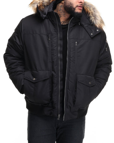 Sean John - Men Black S J Signature Snorkel Coat W/ Faux - Fur - Lined Hood (B&T)