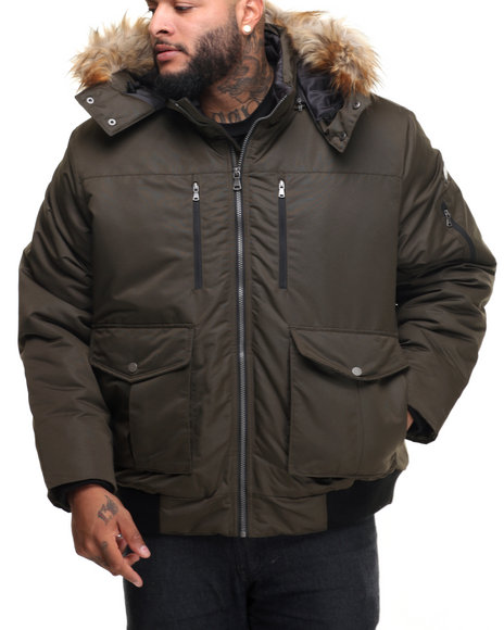 Sean John - Men Olive S J Signature Snorkel Coat W/ Faux - Fur - Lined Hood (B&T)