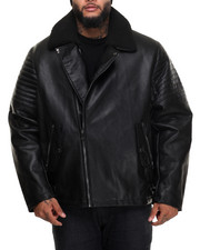 Outerwear - Asymmetrical - Zip Quilted - Shoulder Faux Leather Jacket (B&T)
