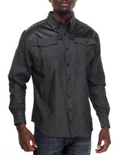 Shirts - W E Faux Leather Trimmed Chambray L/S Button - Down