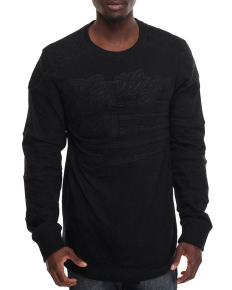 Heritage America - Men Black Heritage Tonal L/S T-Shirt - $23.99