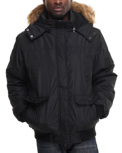 English Laundry - Men Black Bomber Jacket W/Removable Faux Fur Lining Hood